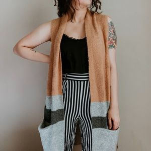 LOFT • oversized color block sleeveless cardigan